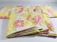"""Vintage Pequot Double Size Flat Sheet 81"""" x 96"""" & 2 Pillow Cases Florals"""