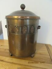 Vintage copper coal bucket with cover and inner tin carry bucket