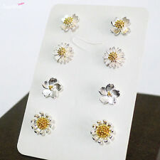 4 Pairs Sterling Silver Clover Cherry Daisy Sun Flower Blossom Stud Earrings Set