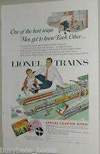 1954 Lionel Train advertisement, LIONEL Lines Diesel & Steam sets Dad & Boy