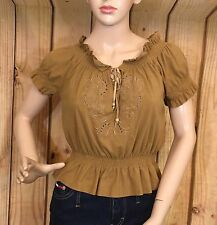 Guess Jeans Brown Faux Suede Embroidered Crop Top Short Sleeve Size S/P