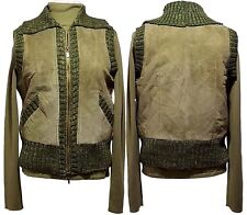 NWT $156 SAGUARO Quilted Leather Vest Silk Sweater Set Green Womens Large (L)