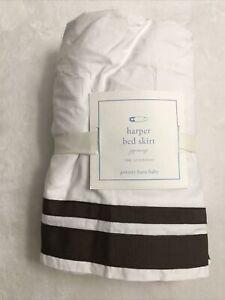 Pottery Barn Kids PBK NWT Harper Brown Ribbon Baby Crib Dust Ruffle Bed Skirt