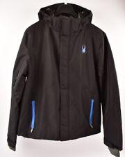 SPYDER Men's Ski Jacket, Black with blue, size Medium