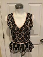 BCBG Max Azria Black Sleeveless Top w/ Tan Diamond Pattern, Size M