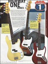 Fender Highway One Series Precision & Jazz Bass Guitars ad 8 x 11 advertisement