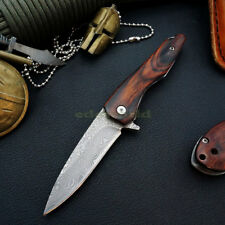 Y-START Damascus Steel Blade Wooden Handle Outdoor Camping Folding Knife Y-ST16