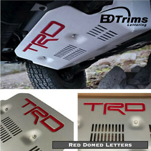 Red TRD Pro Skid Plate Domed 3D Letters Inserts for Toyota FJ Cruiser 2010-2014
