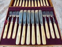 24 Fabulous Antique Fish Silver Plate Cutlery Set Oak Case Hallmark Silver 1897
