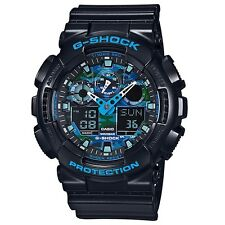 Casio G-Shock GA-100CB-1A Blue Tone Camouflage Face Analog Digital Men's Watch