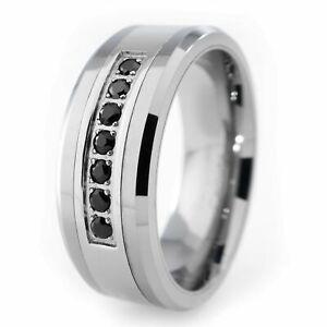 Silver Wedding Band Tungsten Carbide w/ Simulated Black Diamond Bridal 8mm Ring