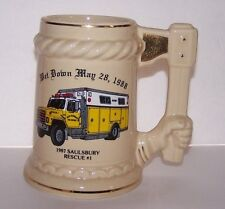 1988 - Poughkeepsie NY FIRE DEPARTMENT - BEER STEIN / MUG Wet Down Rescue Ladder