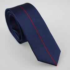 Coachella Ties Navy Blue With Red Vertical Stripe Necktie Woven Skinny Tie Slim