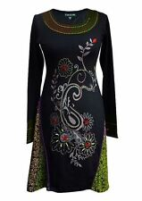 TATTOPANI WOMEN'S LONG SLEEVED DRESS WITH NECKLINE EMBROIDERY AND PATCH DESIGN