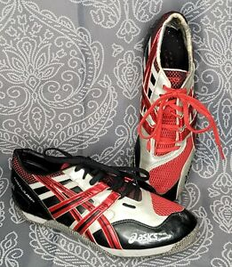 Asics High Jump Shoes GN806 Men's Size 8 1/2 Red & Black - Preowned