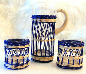 5PC Williams Sonoma Recycled CANE WRAPPED PITCHER + SHORT GLASSES Navy Seagrass!
