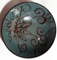 """Roscher Olivia Blue Design 8"""" Round Stoneware Pottery Soup Cereal Serving Bowl"""