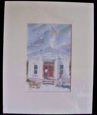 Nina Fritz Matted Print Water Color Post Office 8 x 10