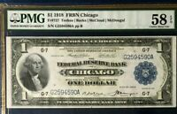 SERIES 1918 $1 FRBN PMG58 EPQ CHOICE ABOUT UNC, FEDERAL RESERVE BANK OF CHICAGO