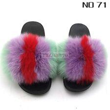 Fluffy Sliders Women Fuzzy Fox Raccoon Fur Slippers  Vogue Sandals Flats Outdoor