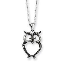 "Cheryl M 925 Sterling Silver CZ & Black Rhodium Owl Pendant Necklace 18"""