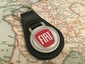 FIAT PEAR BLACK LEATHER KEY RING 500 SPIDER PUNTO PANDA TIPO