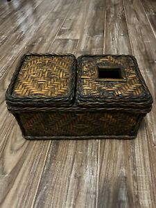 "Vintage Sturdy Two Sided Wicker Square Tissue Box Cover And Storage Box  12""x7"""