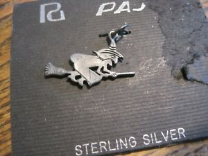 Flying Witch On Broom Sterling Silver Vintage Charm Signed 925 Stamped ON CARD