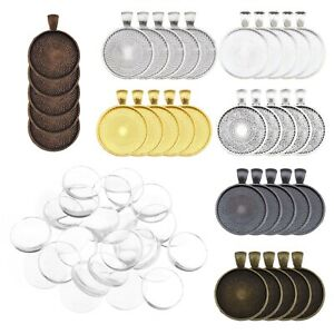 35 Pecies Pendant Trays Kit with Cabochons Glass Dome for DIY Necklace Keyring