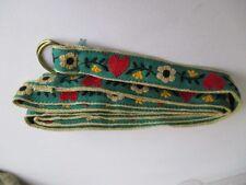 handmade woman's ladies girl's ribbon belt green tan yellow flowers red hearts