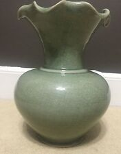 "Art Deco Flower Floor Vase Green Glass Tall 12"" Hourglass Curves w/ Ruffled Top"