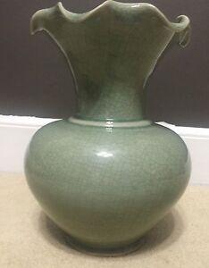 "Art Deco Flower Floor Vase Green Glass Tall 12"" Hourglass Curves w/ Ruffled Top"