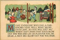 Arts & Crafts Auto Blow Out Saying Motto Artist impression C-1910 Postcard 12447