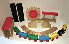 Lot of Old Wooden Train Set Parts 7 Cars Locomotive Turntable Covered Bridge