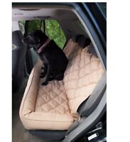 Back Seat Protector with Headrest for Dogs Tan