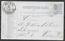 Austria covers 1885 RohrPost PC Wien Neumanngasse to Wien Taborstrasse