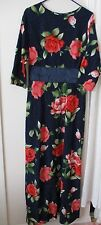 Floral Maxi Dress long Sleeve Beautiful night out spring evening rose navy blue
