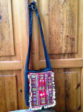 Vintage Ethnic Handcraft Embroidery/Applique/Mirrors Cowrie Shell Fabric Bag
