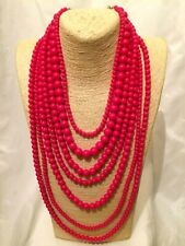 Womens STATEMENT Long Large PINK BEADED Faux Pearl Multi-Strand Chunky Necklace