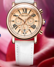 Ladies Girls Luxury Dress Quartz Wristwatch Rose Gold White Leather Strap Watch