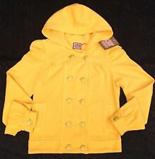 NWT Juicy Couture New Ladies Small Yellow Cotton Buttoned Hoodie Coat UK 8/10