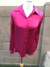 Jessica Holbrook 100% Silk Dark Pink Button-Up Long Sleeve Shirt Blouse Size S