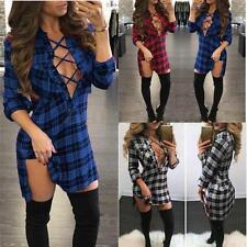 Women Lace-Up V Neck Plaid Check Short Mini Dress Long Sleeve Shirt Dress JJ