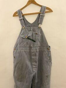 Vintage Key Imperial Blue White Herringbone Stripes Cotton Drill Dungarees