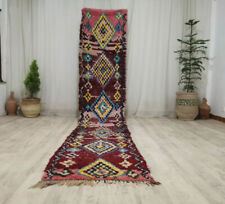 """Moroccan Handmade Vintage Runner Rug 2'4""""x12'1"""" Geometric Berber Maroon Wool Rug"""