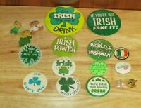 Junk Drawer Lot of 17 Irish & St. Patrick's Day Buttons & Pins