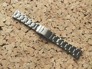 Brushed Stainless Steel Folded Link Watch Strap 20mm Straight Ends