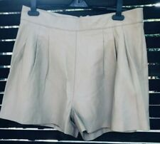 River Island beige real leather shorts with back zip, UK 16