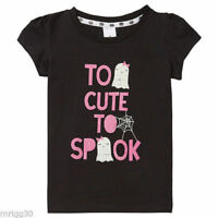 GIRLS Size   5  TOO CUTE TO SPOOK Black Ghost Tee t-shirt top NEW Halloween