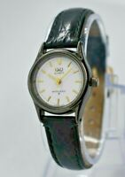 Ladies Q&Q by Citizen Black Steel Dress Watch, White Dial, Black Leather Band